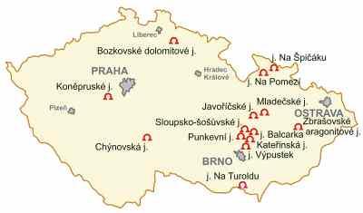 Mapa ČR slokalitami jeskyní
