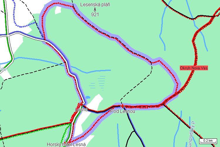 Mapa běžkařské trasy
