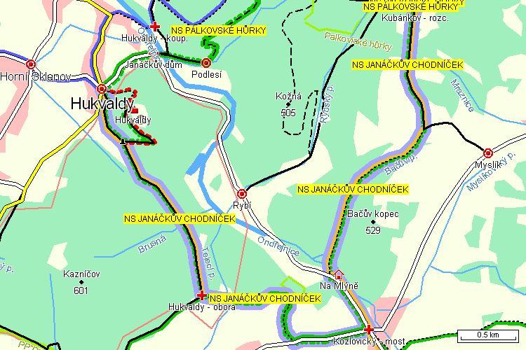 Mapa turistické trasy
